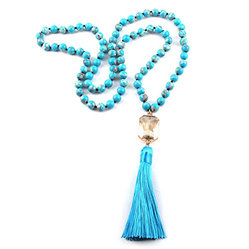 Fashionable Bohemian Tribal Jewelry | Empire Stone Knotted Square Crystal Link Tassel -