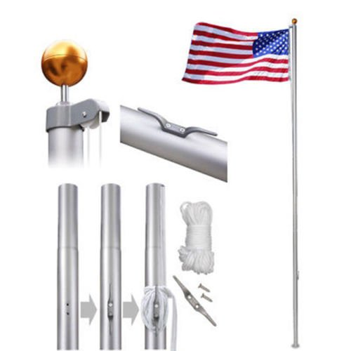 20ft Aluminum Sectional Flagpole Kit Outdoor Halyard Pole & 1 US American Flag
