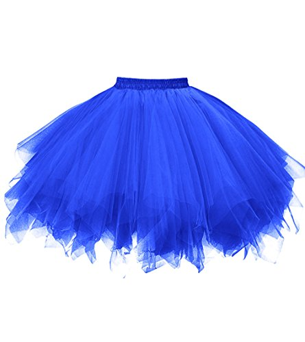 (Dresstore Women's Short Vintage Petticoat Skirt Ballet Bubble Tutu Multi-colored Royal Blue)