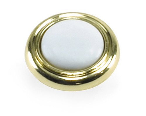 (Laurey 15443 First Family 1-1/4-Inch Diameter Knob, Polished Brass with White Inset)