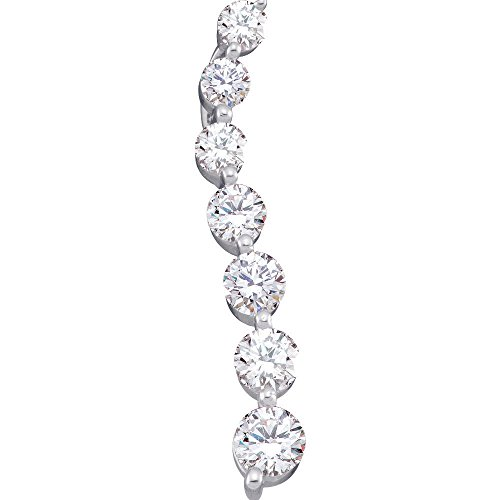 14K White Gold Diamond Journey Necklace Pendant 1.00 ()