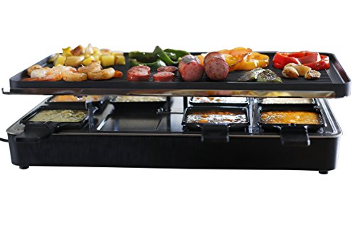 Milliard Raclette Grill for Eight People, Includes Granite Cooking Stone, Reversible Non-Stick Grilling Surface, and 8 Paddles – Great for a Family Get Together or Party