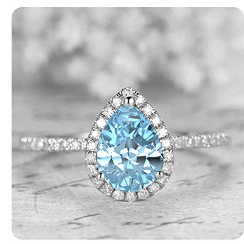 White Ring 14k Gold Aquamarine - 1.50 Ctw Pear Shaped Created Aquamarine & White Diamond 14k White Gold Over .925 Sterling Silver Engagement Ring for Women's