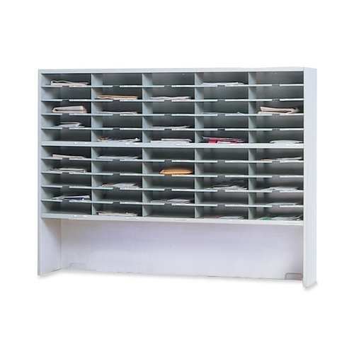 """Mayline Mailflow-T-Go Mailroom System-Sorter With Riser,2 Tier, 60""""x13-1/4""""x46-1/4"""",Pebble Gray"""
