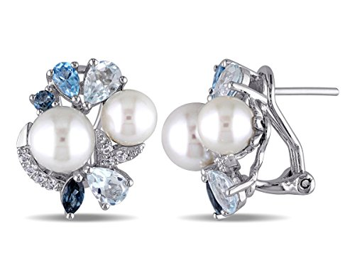 White Freshwater Cultured Pearl with Created White Sapphire, Blue Topaz 3 1/2 Carat (ctw) cluster Earrings Sterling Silver Blue Sapphire Blue Topaz Earrings