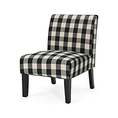 Kendal Traditional Upholstered Farmhouse Accent Chair, Black Checkerboard - Marrying together lavish comfort and impeccable style, this accent chair will quickly become the most highly-sought after seat in your home. Available in several different hues and patterns, there is no doubt that you'll be able to find a variety that meshes in seamlessly with your existing scheme of décor. Allow its deep seating, natural curves, and gently-strutted legs to charm your guests and loved ones. The perfect piece to flank your favorite loveseat or sectional sofa. Includes: One (1) Accent Chair. Upholstery Material: Fabric. Fabric Composition: 100% Polyester. Leg Material: Rubberwood. Frame Material: Solid Wood and Plywood. Fabric Color: Black Checkerboard. Leg Finish: Matte Black. Hand Crafted Details. - living-room-furniture, living-room, accent-chairs - 41M8I3r0FnL. SS400  -