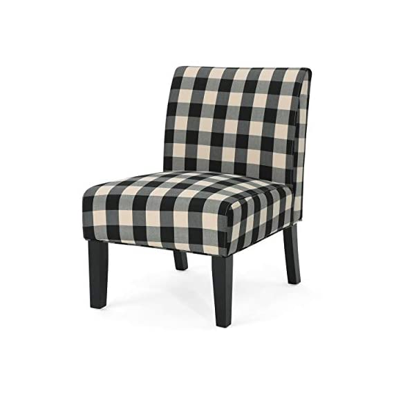 Christopher Knight Home 306411 Kendal Traditional Upholstered Farmhouse Accent Chair, Black Checkerboard, Matte -  - living-room-furniture, living-room, accent-chairs - 41M8I3r0FnL. SS570  -