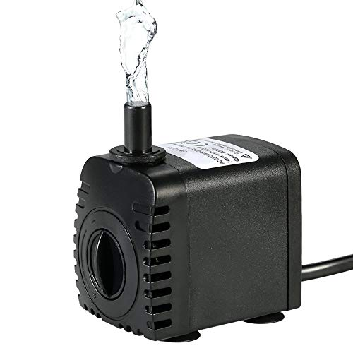 - 150GPH Submersible Water Pump,8W Fountain Water Pump with 4.9ft Power Cord for Aquarium, Pond, Fish Tank, Water Pump Hydroponics