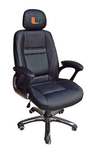 NCAA Miami FL Hurricanes Leather Head Coach Office Chair by Wild Sports by Wild Sports
