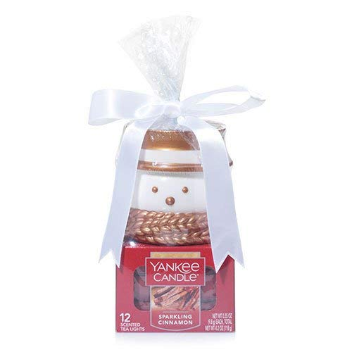 Yankee Candle Christmas Gift Set TEALIGHT SPARKLING CINNAMON WITH SANTA HOLDER