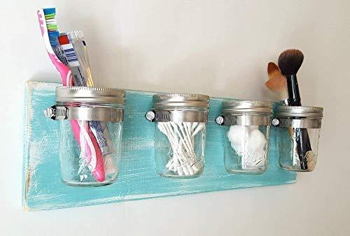 Mason Jar Decor by Out Back Craft Shack: Bathroom Toothbrush Holder - Rustic Beach Decor Light Teal