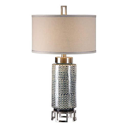 Uttermost Vanora Ceramic and Brushed Nickel Table - Transitional Lamp Table Hudson