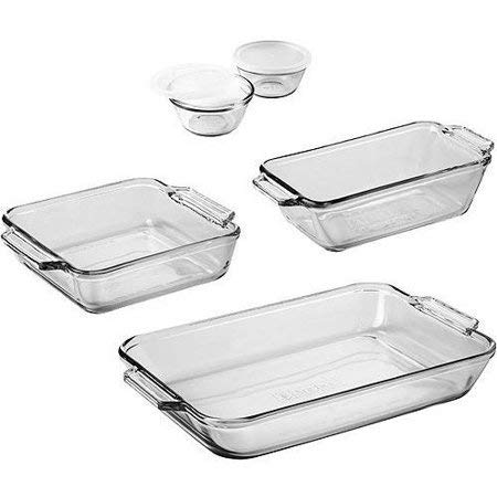 Anchor Hocking 7-Piece Bakeware Set + 3-Piece Measuring Cup Set