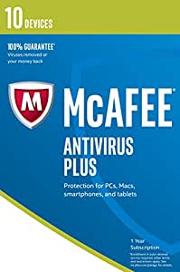 McAfee AntiVirus Plus | 10 Devices | 1 Year | PC/Mac/Android | Download - Latest Version