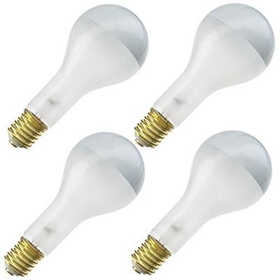 Industrial Performance 300PS35SBIF 120V, 300 Watt, PS35, Mogul Screw (E39) Base Silver Bowl Light Bulb (4 Bulbs)
