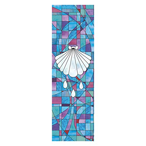 (Stained Glass Baptism Shell Church Hanging Wall Banner with Pole Hem, 6 Feet)