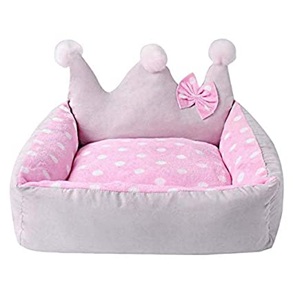 Amazon.com: Fragil Tox Cute pet Bed Dog Bed Crown Shape with ...