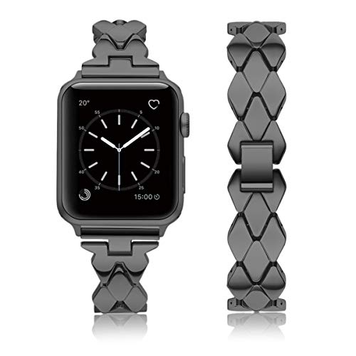 Kwlet Bands Compatible with 38mm Apple Watch Bands Ladies Fashion Metal Unique Band Bracelet Replacement for 40mm iWatch Band Series 4 3 2 1 Sports Black