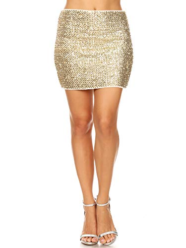 (Anna-Kaci Womens Vegas Night Out Sleek Stretch Shiny Sequin Mini Pencil Skirt, Champagne, Large/X-Large )