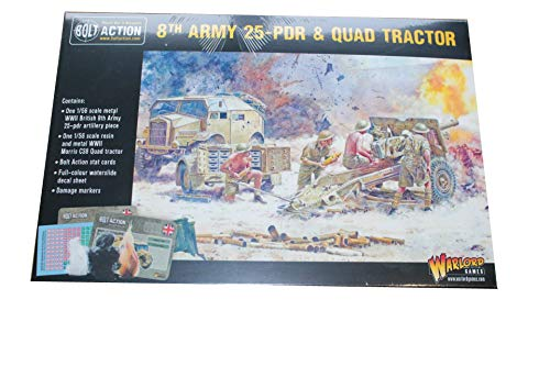(Warlord Games, Bolt action British 8th Army 25pdr and Quad Tractor, Wargaming Miniatures …)
