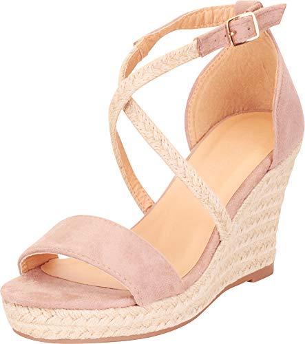 - Cambridge Select Women's Crisscross Strappy Espadrille Chunky Platform Wedge Sandal,8 B(M) US,Taupe IMSU