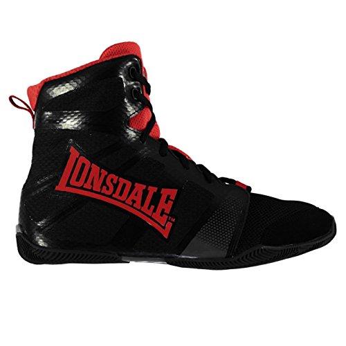 Lonsdale Herren Ghostspeed Boxstiefel Boxen Schuhe Stiefel Boxschuhe Sportschuhe Schwarz/Rot