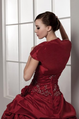 Chaqueta Con Noche De Para Bride Traegerlosen Tafetán George Vestido Glamorous Granate Extraíble nwqz8xaH