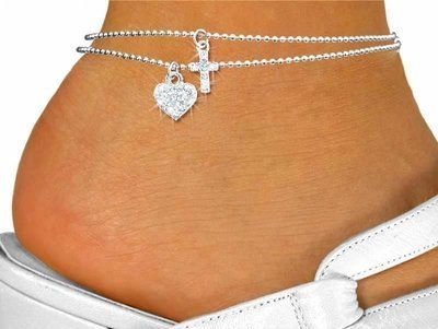 - Genuine Austrian Crystal Silver Tone Cross and Heart Charms double-Strand Anklet