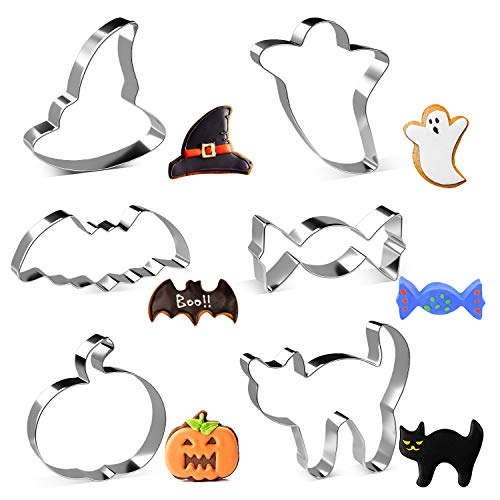LEEFE Halloween Cookie Cutters Set, 6-Pices Stainless Steel Baking Shape Mold - Candy, Pumpkin, Bat, Ghost, Cat and Witch Hat Shapes for Halloween Party Treat, Decoration