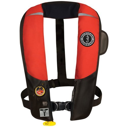 Mustang Survival Corp Inflatable PFD with HIT (Auto Hydrostatic) with Harness, Red/Black ()