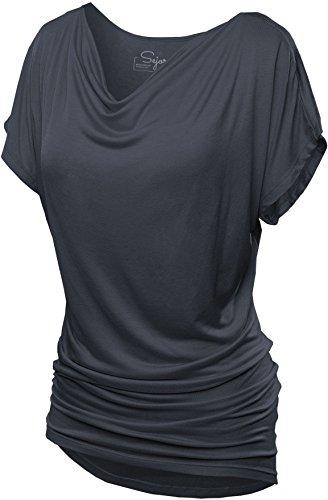 SATINA 2005 Convertible Short Sleeve Dolman Tunic Top (Charcoal, Small)