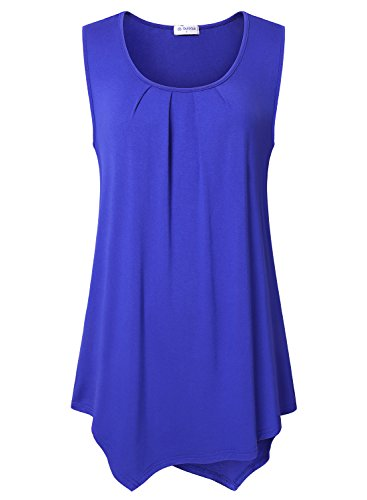 Bulotus Plus Size Summer Casual Tees, Women's Scoop Neck Sleeveless Pleated Flowy Knit Top For Leggings Blue,XXL from Bulotus