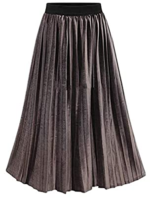 Omoone Women's High Elastic Waist Velvet Velour Long Pleated Swing Skirt