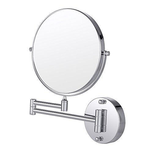 Beau Wall Mount Makeup Mirror, Cozzine 10x Magnifying Two Side Vanity Extendable  Bathroom Mirror Nickel, Chrom Finish
