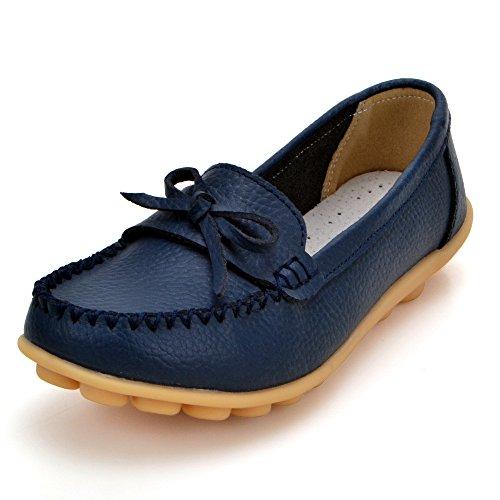 Earsoon Loafers Schuhe für Frauen Leder - Handwerk 2018 Frühjahr neue exklusive Serie Slip On Loafers Damen Penny Schwarz Comfort Walking Flat Loafers Dunkelblau