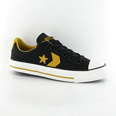 b50d8f30dc6d78 Converse Star Player Ox Black Gold Canvas Mens Trainers  Amazon.co.uk   Shoes   Bags