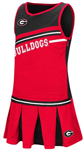 Top Dog Cheerleading - Girls Toddler Georgia Bulldogs Red Curling Cheer Set (2T)