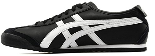 Onitsuka Tiger México 66 Negro Cuero Negro Mujeres Formadores Zapatos Botas