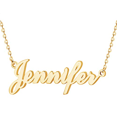 Custom Name Necklace Personalized Name Necklace 18K Gold Plated Jewelry Gift for Women (Name Necklace Gold)