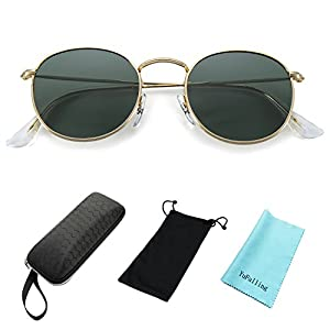 YuFalling Polarized Sunglasses for Men and Women, Classic Vintage Small Round Lens (black green, 50)