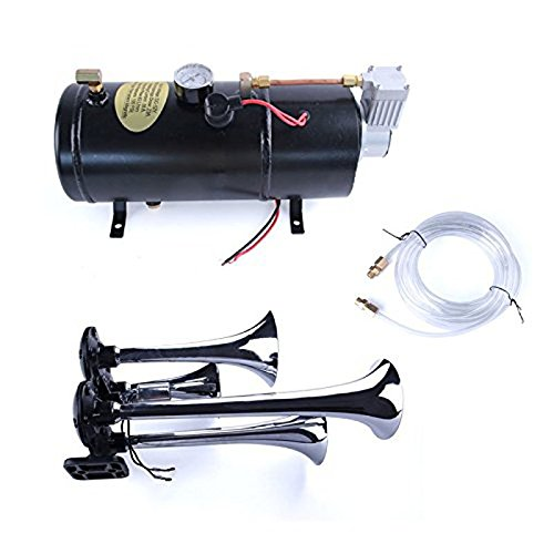 Chrome 4-Trumpet 150DB Air Horn Car Truck Train + 110PSI 12V Air Compressor & Hose Air Train horn -