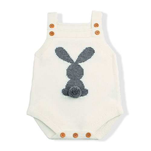 Rompers Clothes Toddler Jumpsuit Easter Bunny Sleeveless Outfit (70,White) ()