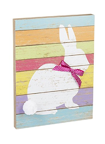 - Ganz 10 inches width x 1 inches depth x 13 inches height Rainbow Spring Rainbow Plaque Bunny Home Decor