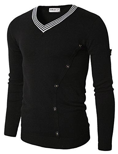 Doublju Mens Classic Pull On Slim Fit Long Sleeve V-Neck Sweater BLACK,(US M)