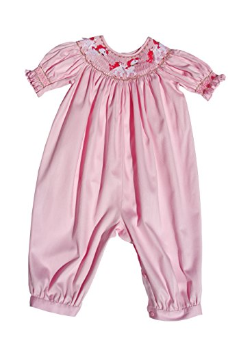 (Carouselwear Girls Pink Long Bubble Overalls with Smocked Carousel)