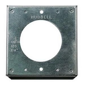 "Hubbell Wiring Systems HBL50SC Twist-Lock Galvanized Steel FS/FD Box Mounting Single Receptacle Weatherproof Wall Plate Cover, 2 Gang, 50 Amp, 4"" Width x 4"" Height"