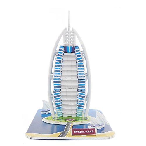 Creative 3D Puzzle Paper Model Burj AL Arab DIY Fun & Educational Toys World Great Architecture Series, 38 Pcs Burj Al Arab Puzzle
