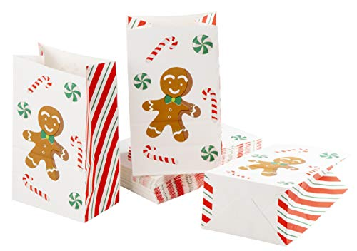 (Party Treat Bags - 36-Pack Gift Bags, Christmas Party Supplies, Paper Favor Bags, Recyclable Goody Bags for Kids, Gingerbread Design, 5.1 x 8.7 x 3.2 Inches )