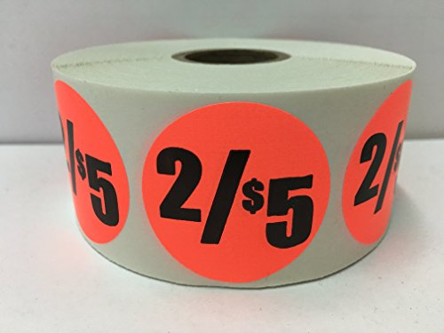 "1000 Labels 1.5"" Round Bright Red 2/$5 Discount Pricing Price Point Retail Stickers 1 Roll"