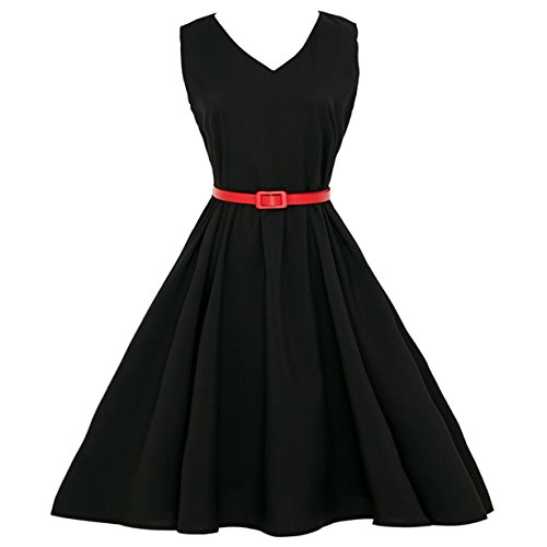 Londony ❤️ 1950s Dress, Women's Vintage A-Line Pleated Sleeveless Little Cocktail Party Dress with Color Belt 1950s Rockabilly Dress (Black ❤️, 2XL) -
